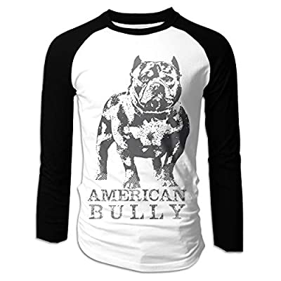 Eowlte American Bully Men's Raglan Long Sleeve Athletic Casual Baseball T-Shirt Black