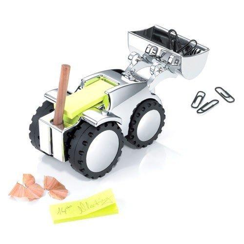 TROIKA DIGGER – GAM40/CH – Paper clip holder – adjustable shovel – paper weight – pen holder incl. 1 pen – cast metal– shiny – silver, black – TROIKA-original