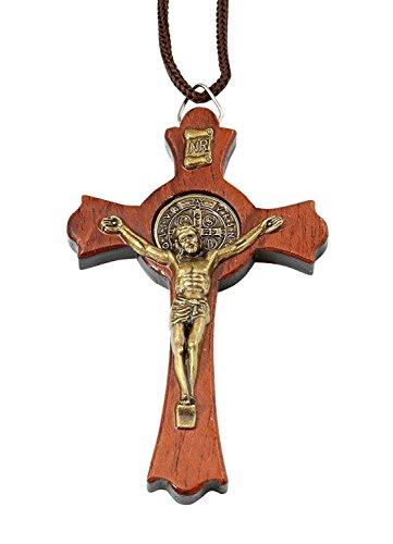 Catholica Shop Catholic Religious Wear Saint Benedict Jatoba Wood Gold Tone Crucifix Cross Corded Necklace - X-Large - Cross Tone Gold Religious