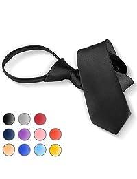 Brooben Boys' Satin Zipper Neck Tie 14 inch Children Wedding Tie NK1 Black
