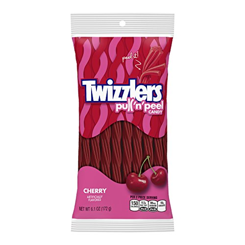 TWIZZLERS Pull 'n' Peel Licorice Candy, Cherry, 6.1 -