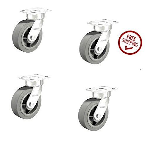 110 Series Swivel Casters 8''x2'' Soft Rubber Wheel 4''x4-1/2'' Plate Performa (4) by Contender / Kingpinless