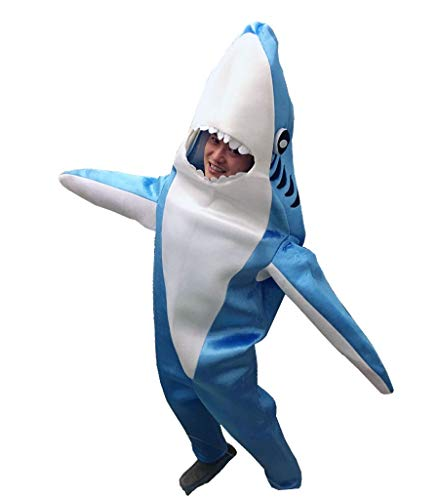 Luxfan Fleece Kids Shark Onesie Halloween Costume Cosplay Funny Outfit Jumpsuit (Sky Blue, M(7-10 Years)) -