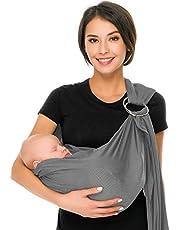 Cuby Ademende Baby Carrier Mesh Fabric, Ideaal voor de zomer/Beachhe Verstelbare Ring Sling Baby Carrier. Ergo-vriendelijk Lichtgrijs