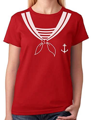 TeeStars - Halloween Sailor Costume Women T-Shirt Large Red -