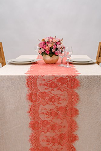 Crisky 14x120 Inch Coral Lace Table Runners, Thin, Summer Wedding Reception Table Decoration Baby & Bridal Shower Party Decor
