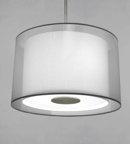 (Robert Abbey S2193 Pendants with Silver Transparent Exterior and Ascot White Fabric Interior Shades, Stainless Steel Finish)