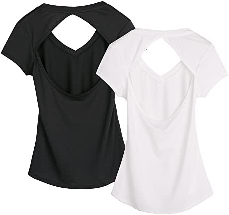 25ef2924e0397 icyzone Activewear Fitness Yoga Tops Workout V Neck Open Back T-Shirts For  Women