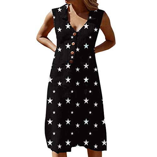 Women's Summer Casual Sleeveless Dresses Classic Star Print Lapel V Neck Button Down Vintage Dress with 2 Pockets Black