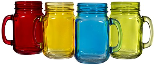 Palais Glassware Mason Jar Tumbler Mug with Handle - 16 Ounc