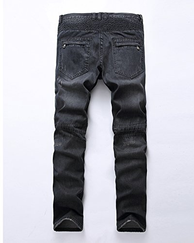 Desgarrar Agujeros Negro para Fit Destruido Moto Hombre Slim Vaqueros Pantalones Ver P6Zq8wU