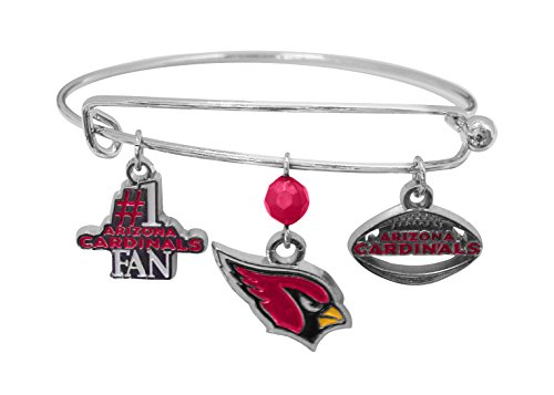 Silver Arizona Cardinals Charm - NFL Arizona Cardinals Three Charm Logo Bracelet
