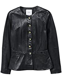 Women's Buttoned Leather Jacket