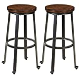 Signature Design by Ashley Furniture-Challiman Bar Height Bar Stool-Set of 2-Casual Style-Rustic Brown