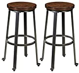 Ashley Furniture Signature Design Challiman Tall Stool, Rustic Brown, Set of 2, Pub