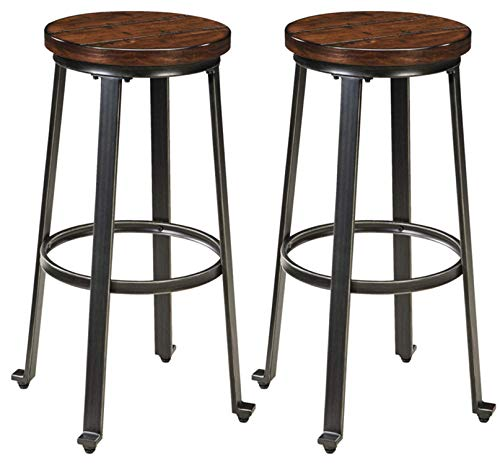 Ashley Furniture Signature Design – Challiman Bar Stool – Pub Height – Set of 2 – Rustic Brown