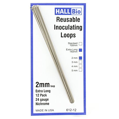 Hall Bio 612-12 2mm x 140mm Reusable Inoculating Loops, Nichrome A (12 Pack)