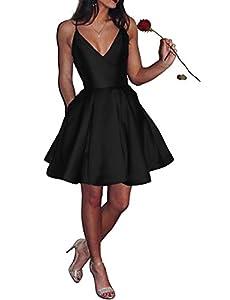 Bonnie_Shop Women's Elegant Prom Dresses 2018 Long/Short Spaghetti Straps Satin Evening Party Dress with Pockets BS037