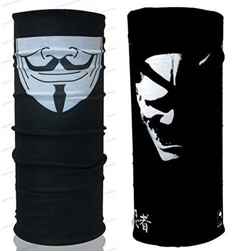 V for Vendetta & the Samurai Mask Scarf Bandana Multi Functional Headwear 172149 Biker Bb Gun Fishing Angler Extreme Motocross by Tamegems Headwear