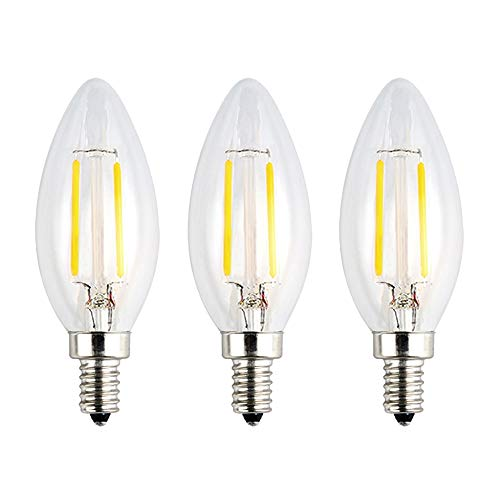 OPALRAY Low Voltage 12Volts Input LED Candle Bulb, Natural White Daylight, 2W 200Lm, Dimmable, E12 Small Base, Clear Glass Torpedo Tip, 25W Incandescent Equivalent, for 12V AC/DC Power, 3 Pack