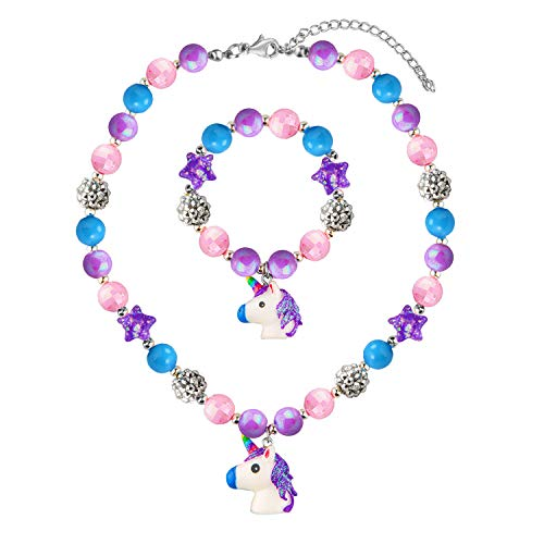 SkyWiseWin Chunky Bubblegum Necklace Bracelet Set Little Girls Jewelry