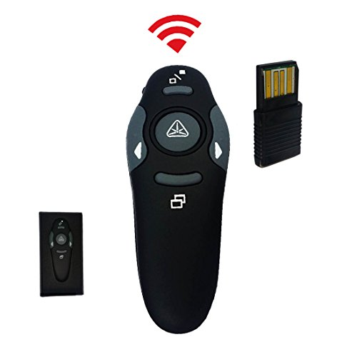 Pro Laser Pointer | Professional Black 2.4GHz Wireless PowerPoint Presentation Presenter with USB Plug | Versatile PPT Clicker Remote Up to 30 Feet with Practical Non Rechargeable Battery | 1274.1
