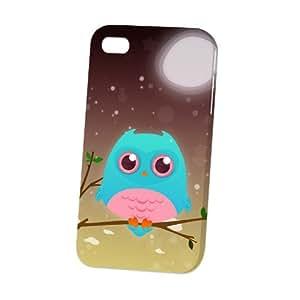 Case Fun Apple iPhone 4 / 4S Case - Vogue Version - 3D Full Wrap - Turquoise Owl by DevilleART