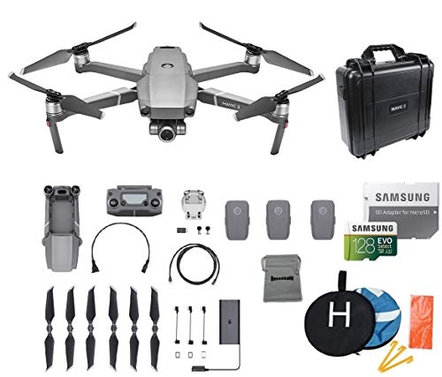 DJI Mavic 2 Zoom Drone Quadcopter Bundle with 3 Batteries, Waterproof Hard Carrying Case, Landing Pad, 128GB SD Card Supports 4K Video