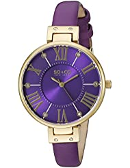 SO&CO New York Womens 5091.2 Slim Purple Crystal Accent Leather Strap Watch