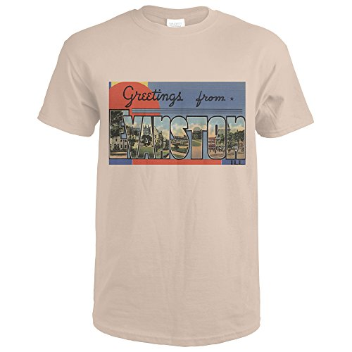 Lantern Press Greetings From Evanston, Illinois - Vintage Halftone (Sand T-Shirt XX-Large) (Evanston Sand)
