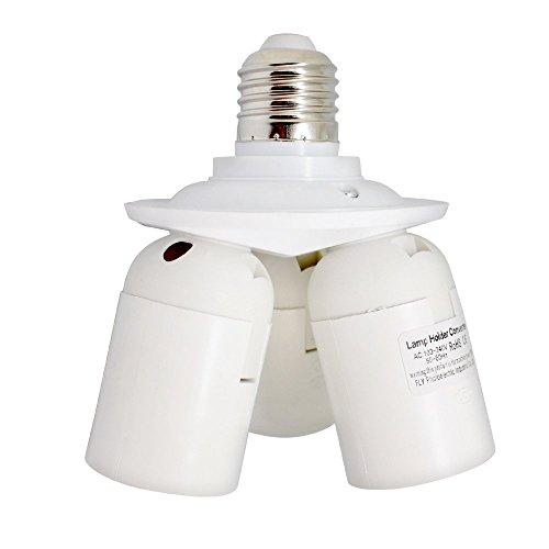 E27 Light Bulb Standard Base E26 1 in 3 Sockets Splitter 3 Ways Adapter e27 Socket Plastic Light Lamp Holder Base , Max Wattage 180W