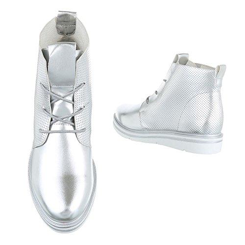 Ital-Design - Botas Militar Mujer plata