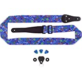 Blue Guitar Strap for Kids Beginners and Young at Heart with Whimsical Music and Guitar Pattern. Includes Bonus Bundle Matching Picks, Strap Locks and Leather Keychain Pick holder. Great gift! (Blue)