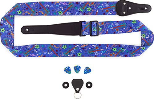 Blue Guitar Strap for Kids, Beginners, Youth, and Adults - Includes Matching Picks, Strap Locks and Keychain Pick holder. Great Gift for Girls and Boys.