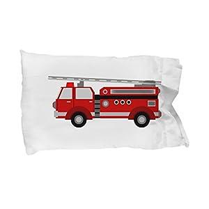 CLB Goods Fire Truck Pillowcase - Gift For Boy, Toddler, Son, Firetruck Lover, Stocking Stuffer - Boy's Pillow Case - Red Fire Engine Bedding - Standard 20X30 Microfiber - Pillow Slip
