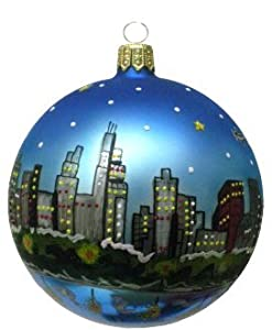Amazon.com: Chicago Christmas Ornament - Chicago Skyline at Night ...
