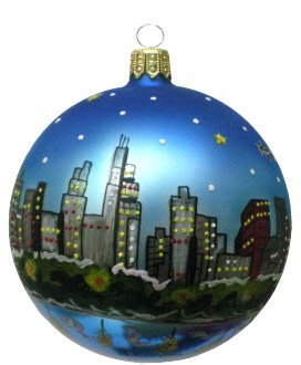 Christmas In Chicago Skyline.Chicago Christmas Ornament Chicago Skyline At Night
