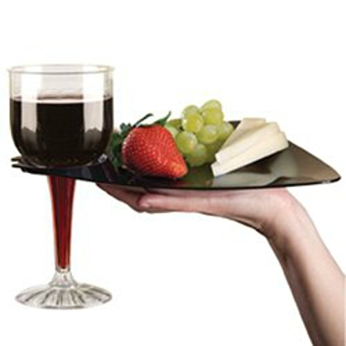Black Cocktail Buffet Plates with Beverage Holder 10 Pack Party Plates with Wine Stem Holder (Buffet With Wine Holder)