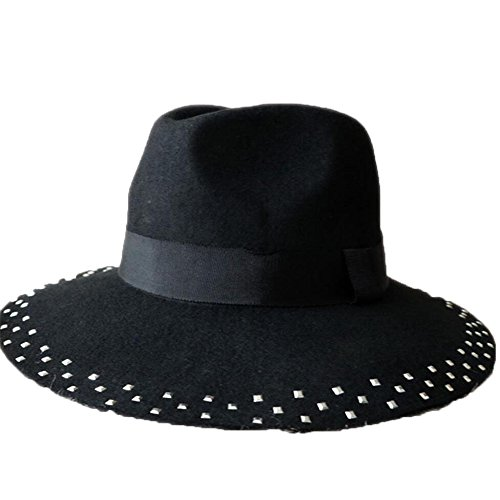Peng sounded Wool Hat, Pure Color Jazz Hat, Spring And Autumn Season Ladies' Rivet Felt Hat. (Wool Drill Hat)