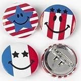 Patriotic Smile Face Mini Buttons (4 dozen) - Bulk