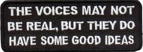 Voices Not Real But have Good Ideas Funny Biker Patch!! ()