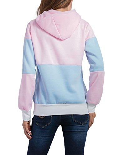 YesFashion Femme Sweater à capuche Epissage couleur manches longues avec laçage poche Femme haut top