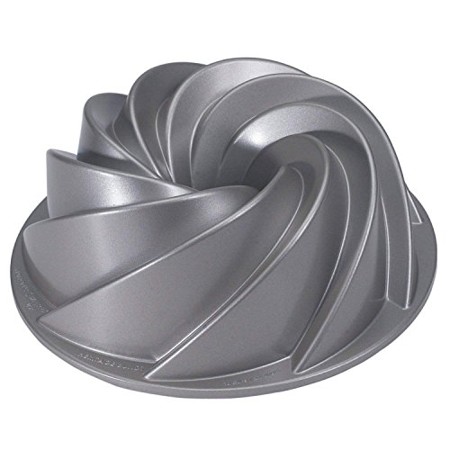New Silver Swirl Design Cast Aluminum Cake Bundt Bake Pan with Kitchen Tools Combo