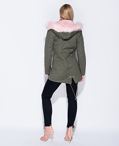 Donna Full Fashions Momo amp;Ayat Length Khaki Fur Parka Cappotto q5XIR4rwI