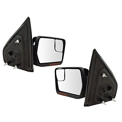 Mirrors Power Heated Turn Signal w/Chrome & Black Caps Pair Set for 04-14 ()