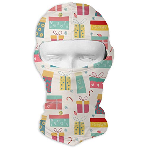 HWOOPQ Christmas Colorful Gift Boxes Pattern Full Face Mask Hood Unisex Balaclavas Head Wear