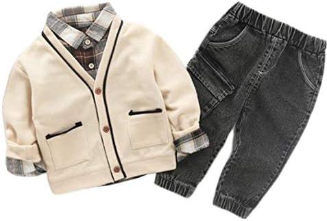 男の子 セットアップ カーディガン 長袖シャツ ズボン 3点セット 秋冬 フォマール ボーイズ ベビー服 スーツ トップス デニムパンツ 無地 柔らかい プレゼント かっこいい