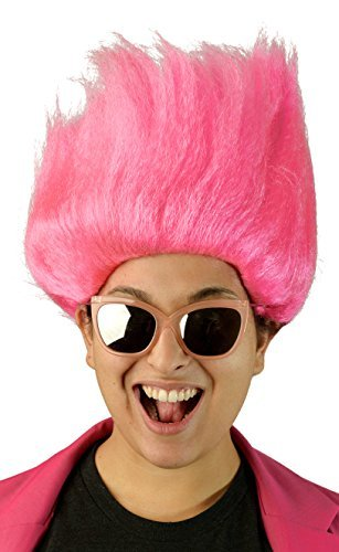 Adults Pink Women's Troll Doll Wig