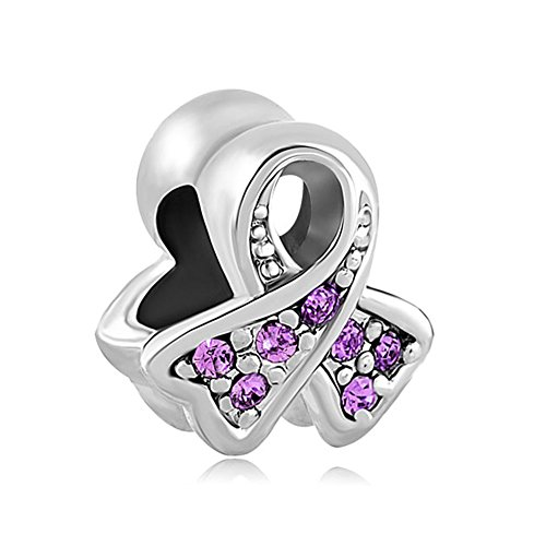 (Third Time Charm Breast Cancer Awareness Ribbon Charm European Bead with Light Purple Crystals)