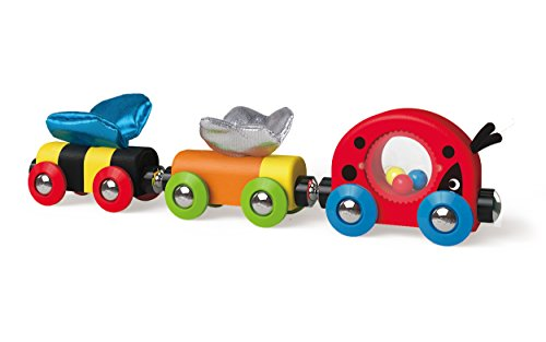 - Hape Wooden Railway Lucky Ladybug and Friends Train Set